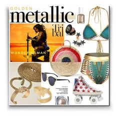 """""""Golden Metallic - Wonder Woman"""" by watereverysunday ❤ liked on Polyvore featuring Vanessa Seward, Yves Saint Laurent, Alex and Ani, Kismet by Milka, Essie and Gucci"""