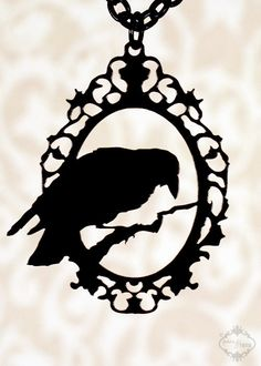 Perched Raven Cameo silhouette necklace in black stainless steel