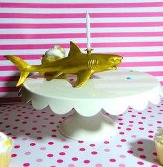 Golden Shark Birthday Candle Holder by TonysDinostore on Etsy