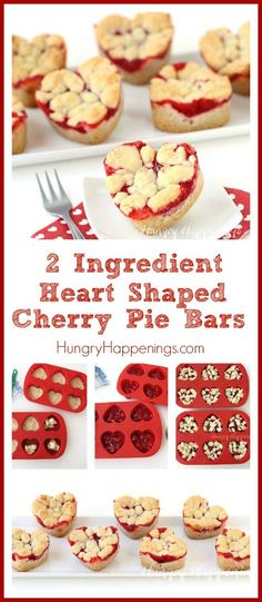 Grab some refrigerated cookie dough and a can of cherry pie filling and make these 2 Ingredient Heart Shaped Cherry Pie Bars. They are delightfully easy to make for Valentine's Day.