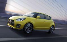 Télécharger fonds d'écran 4k, la Suzuki Swift Sport, les voitures en 2018, route, jaune, Swift, Suzuki