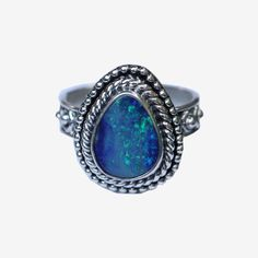 Natural Opal Ring Sterling Silver Ring