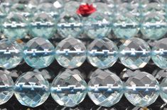 64 faces''---37 pcs of Aqua quartz glass faceted round beads in 10mm