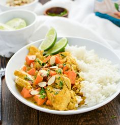 Almond Chicken and Sweet Potato Curry - a quick and simple dinner option that's ready in under an hour!