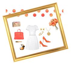 """Tangerine Dream #orange #brunchoutfit #summer #white"" by organizedandstylish on Polyvore"