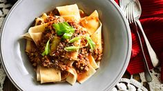 Pappardelle with veal, pork and sausage ragu. Recipe by Loukie Werle.