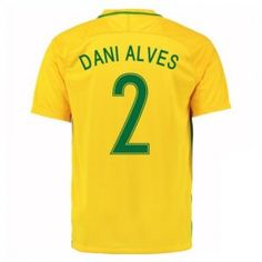 2016 Brazil Soccer Team Dani Alves 2 Home Replica Jersey [D980]