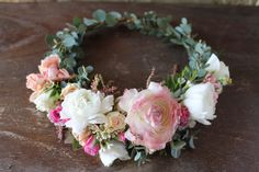 The Lina Crown // Ranunculus, astilbe and micro eucalyptus flower crown  www.thecrowncollective.co