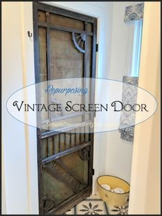 By using a vintage screen door in the bathroom redo, gave the space character and served an important purpose. Vintage Screen Doors, Doors And Floors, Crate Cover, Window Privacy, Small Wood Projects, Quality Cabinets, Plank Flooring, Fabric Covered, Frosted Glass