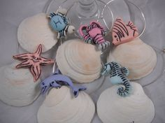 Shell and Sea Wine Charm Collection by CorkandShell on Etsy, $18.00
