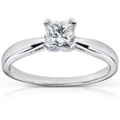 Annello 14k Gold 1/2 ct TDW Radiant Cut Diamond Solitaire Engagement Ring