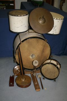 Old Drum kit, side drums and cymbals