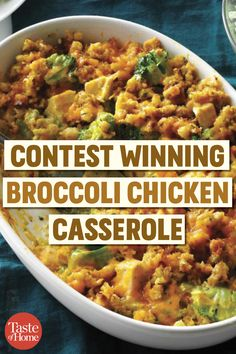 Contest Winning Broccoli Chicken Casserole This delicious chicken and broccoli casserole recipe is a twist on chicken divan that came from an old boss. It's quick, satisfying comfort food. Dinner Casserole Recipes, Casserole Dishes, Dinner Recipes, Healthy Casserole Recipes, Drink Recipes, Snack Recipes, Chicken Broccoli Casserole Healthy, Chicken Stuffing Casserole, Food Dinners