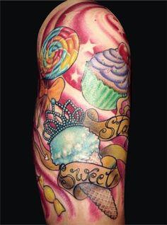 Sweet tooth tattoo. Kawaii. Pink. Cupcake tattoo