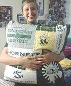 Tee Shirt Pillow - Volleyball - Sacramento State - College Graduation Gift