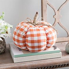 Add a sweet, decorative touch to your fall decor with this Orange Buffalo Check Fabric Pumpkin. Harvest Decorations, Seasonal Decor, Holiday Decorations, Fabric Pumpkins, Fall Pumpkins, Fall Halloween, Halloween Crafts, Halloween 2019, Buffalo Check Fabric
