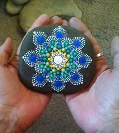 Large Hand Painted Stone ~ Dot Art Painted Rock ~ Colorful Blue Mandala Flower ~ Original Home Decor ~ by P4MirandaPitrone on Etsy