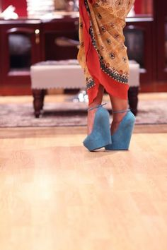 blue suede shoes... I simply   like the wedge and delicate ankle belt. i'd love these in red! <3