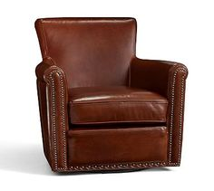 Irving Leather Swivel Armchair, Bronze Nailheads, Polyester Wrapped Cushions, Bourbon