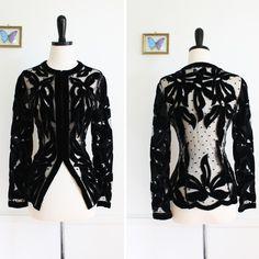 vintage Victorian Fit Mesh and Velvet Mourning Jacket