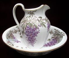 Large Vintage Wash Bowl & Pitcher Wisteria Copeland's Hampton & Sons London early 1900's