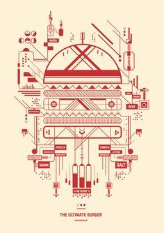 Ultimate Burger vector diagram by Petros Afshar. Design Graphique, Art Graphique, Design Poster, Print Design, Graphic Design Illustration, Illustration Art, R2d2, Affinity Designer, Information Design