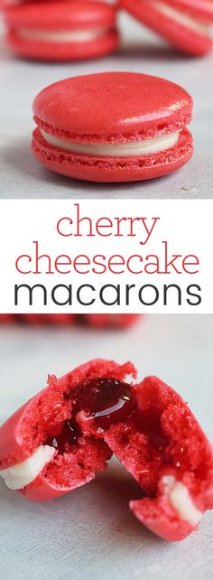 Cherry Cheesecake Macarons are the perfect addition to and party dessert table that needs a pop of color and classic flavor. Download this recipe and the Macaron Tips, Tricks & Troubleshooting Guide and be a macaron superstar! #macaron #recipe #cheesecake #cherry #dessert via @karascakes