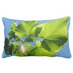 One Sided Vine Leaves Lumbar Pillow