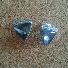 "Cute gray crystal stud earrings Stud earrings with a row of clear crystals above the triangular smokey gray gem. About 1/3""..post earrings with backing. I believe these are from Torrid. Worn once. Jewelry Earrings"