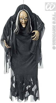Hexe Riesen-Halloween-Hängedeko schwarz-weiss 140cm Einheitsgröße
