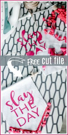 Slay the Day SVG Silhouette Cut File, cute banner or tee or anything! - Sugar Bee Crafts