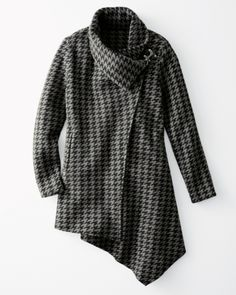 Asymmetrical Houndstooth Boiled Wool Coat - Garnet Hill