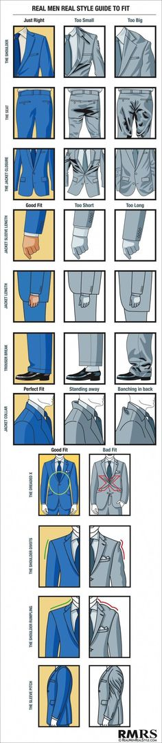 Real Style Guide To Fit Style Guide for Men Visual-Suit-Fit-Guide-for-Real--And, dang it, looks like my vintage blazers are too small.Style Guide for Men Visual-Suit-Fit-Guide-for-Real--And, dang it, looks like my vintage blazers are too small. Real Men Real Style, Real Man, Sharp Dressed Man, Well Dressed Men, Suit Fit Guide, Mode Man, La Mode Masculine, Men Style Tips, Mens Style Guide