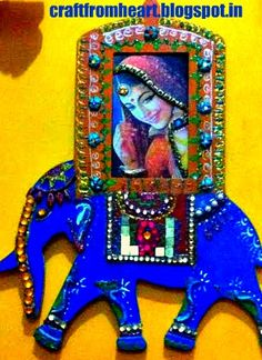 mdf board of ethnic elephant with embossed image