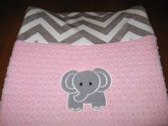 Changing Pad Cover Elephant Zoo Minky Minky Chevron by MoMaCreates