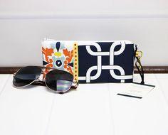 Zipper Glasses Case - Sunglasses Pouch - Reading Glasses Case - Padded Eyeglass Case - Blue, Orange, White - Premier Prints by TalfourdJones on Etsy