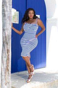 Dixiefried Glamour Girl Wiggle Dress in Blue & White Stripe | Retro Style Wiggle Dress | Pinup Girl Clothing
