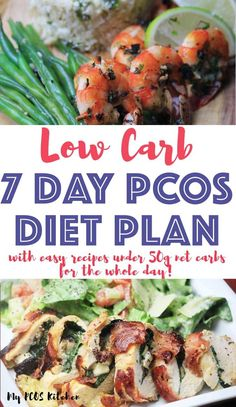 This delicious low carb 7 day PCOS diet plan comes with easy recipes all under 50g net carbs for the whole day. It's the perfect low carb meal plan for weight loss and it's super easy to follow. You'll find low carb recipes for breakfast, lunch and dinner that are moderate to high in protein and high in fat. Pcos Meal Plan, 7 Day Meal Plan, Low Carb Meal Plan, Diet Meal Plans, Low Carb Recipes, Vegetarian Recipes, Easy Recipes, Dinner Recipes, Dinner Ideas