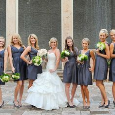 Dark Gray Bridesmaid Dresses from Nordstrom // photo by: Agape House Studio // http://www.theknot.com/weddings/album/an-eco-friendly-wedding-in-houston-tx-110638