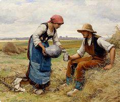 Julien Dupré 1851-1910 ~ Sharing Her Water