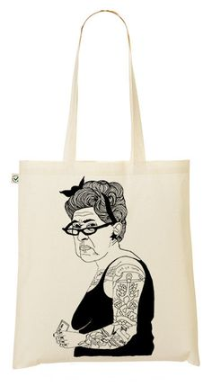29e43b88fd Illustrated Tattoo Lady Hand printed tote bag by emilythepemily