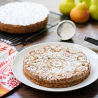 Pear Almond Cake ... top with whipped cream and sliced almonds.