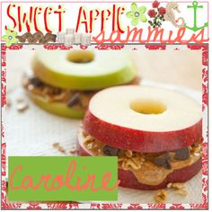A recipie for sweet apple sammies, its a healthy yet sweet treat and easy to make {and 2 make a serving} all you need is apples ,peanut butter ,cinnamon,and mini chocolate chips  :cut the apple core out, and slice the apple in 2   :then put peanut butter on it, and a pinch of cinammon-for taste  :and sprinkle  mini chocolate chips on the top