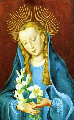 A French devotional image of Mary holding a lily, a symbol of her purity.
