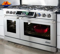 """Smartphone-Controlled Range - The Future of Kitchens on Display at CES 2014 Discovery IQ 48"""" Dual-Fuel Range"""
