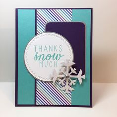 I put together a wintery thank you card for this week's #mojomondaysketch.  Stamps and snowflake die from #reverseconfetti. #stamping #papercrafts #handmade #thankyou #diecuts