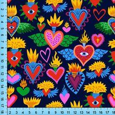 Cartoon Icons, Cartoon Styles, Fabric Patterns, Print Patterns, Heart Illustration, Fire Heart, Mexican Folk Art, Eye Art, Heart Art