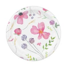 Floral Watercolor Paper Plates - baby gifts child new born gift idea diy cyo special unique design
