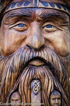 8 ft. Viking Family Carving – Custom Wood Carvings & More