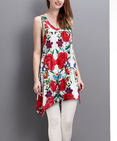 Another great find on #zulily! White Floral Racerback Sidetail Tunic - Women #zulilyfinds